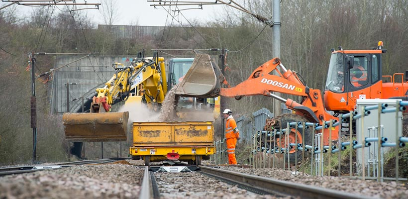 New ballast on the railway near Ipswich