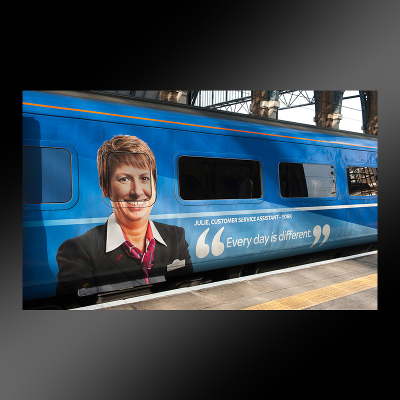 East Coast Trains train wrap, London