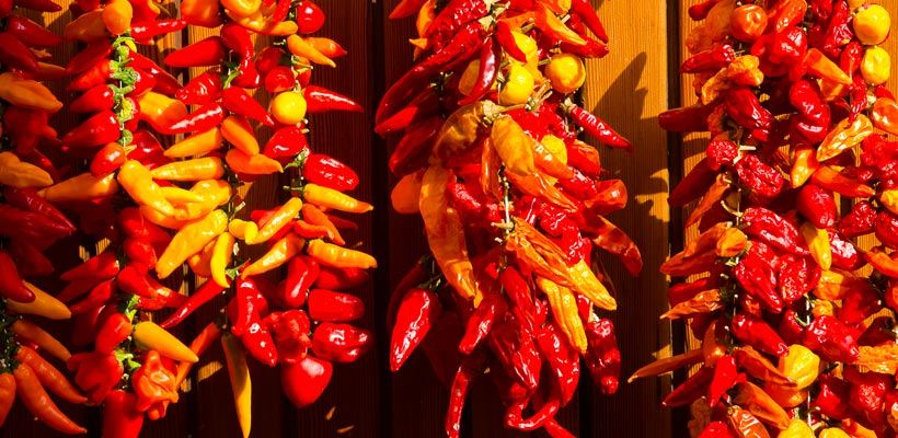 Chillies in the market in Alcudia, Mallorca, Spain