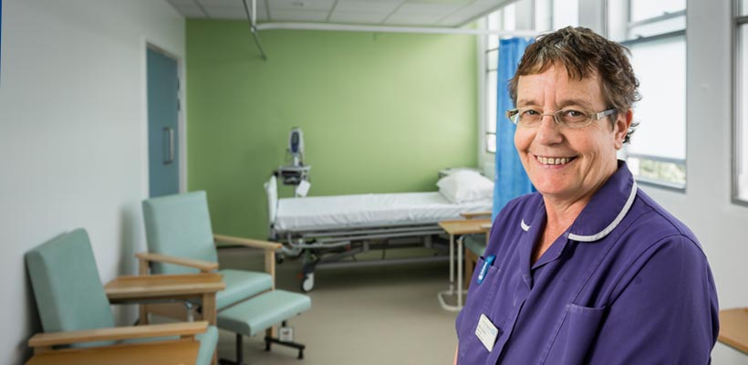 Portrait of nurse at Queens hospital Burton on Trent.